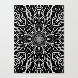 Floral Black and White Mandala Canvas Print