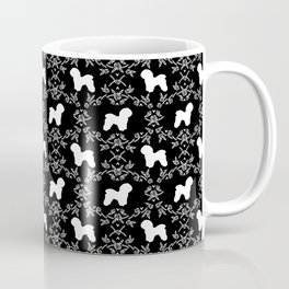 Bichon Frise dog florals silhouette black and white minimal pet art dog breeds silhouettes Coffee Mug