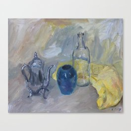 Still life with yellow cloth Canvas Print