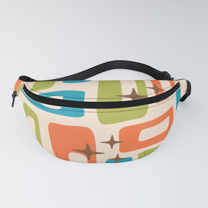 Retro Mid Century Modern Abstract Pattern 921 Orange Chartreuse Turquoise Fanny Pack