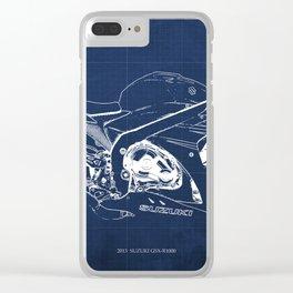 23-2013 Suzuki GSX-R1000 BLUE, Motorcycle blueprint Clear iPhone Case