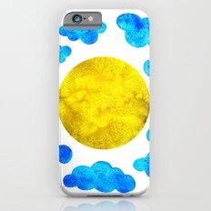 Cute blue cartoon clouds and sun. iPhone 6s Slim Case