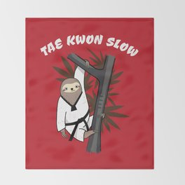 Tae Kwon Slow - Funny Martial Art Sloth Throw Blanket