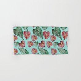 Botanical on Turquoise. Tropical Plants. Hand & Bath Towel