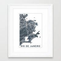 rio de janeiro Framed Art Prints featuring Rio de Janeiro map by Studio Tesouro