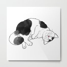 Cat Rolling and Purring Metal Print
