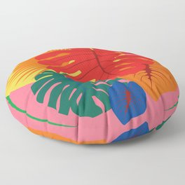 Tropical Red Split Palm Rainbow Floor Pillow