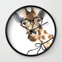 Giraffe with Glasses · Baby Giraffe · Baby Animals · Animals with Glasses · Giraffe with Bow Wall Clock