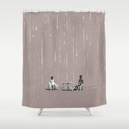 Glass half full kind of people Shower Curtain