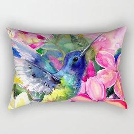 Hummingbird and Plumeria Florwers Tropical bright colored foliage floral Hawaiian Flowers Rectangular Pillow