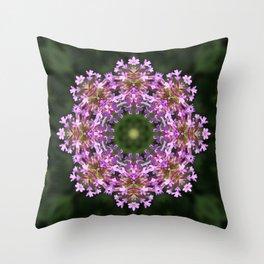 Constellation of Verbena flowers mandala Verbena bonariensis 1829 k2 Throw Pillow