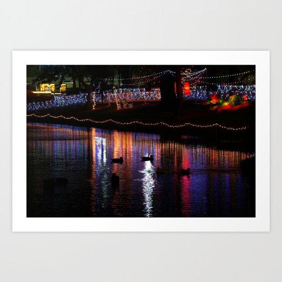 ducks on relfections Art Print