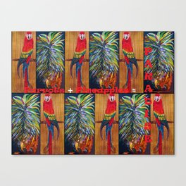 Parrots and Pineapples Canvas Print