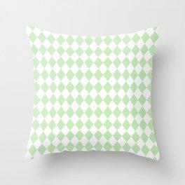 Spearmint Mint Green Modern Diamond Pattern on White Throw Pillow