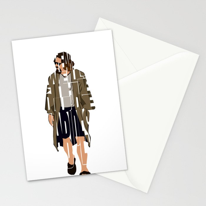 The Big Lebowski Inspired The Dude Typography Artwork Stationery Cards