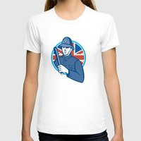 british flag T-shirts featuring British Bobby Policeman Truncheon Union Jack Flag by patrimonio