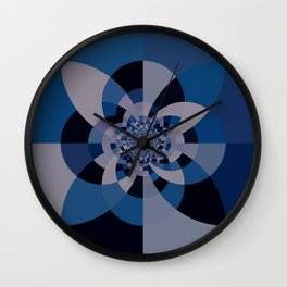 Shades of Classic Blue & Gray Kaleidoscope Mandala Wall Clock