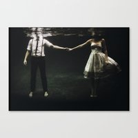 underwater Canvas Prints featuring abyss of the disheartened : IX by Heather Landis