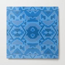 Geometric Aztec in Cobalt Metal Print