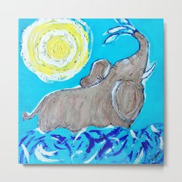 Baby Elephant Playing in the Water Metal Print