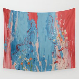 Red and Blue Abstract Flower Field Painting by Jodi Tomer. Wall Tapestry