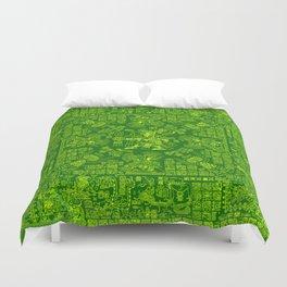 Mayan Spring GREEN / Ancient Mayan hieroglyphics mandala pattern Duvet Cover