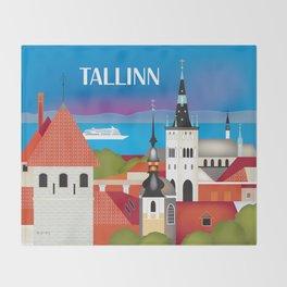 Tallinn, Estonia - Skyline Illustration by Loose Petals Throw Blanket