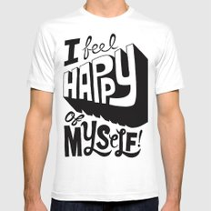 Happy of Myself SMALL White Mens Fitted Tee