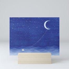 Follow the moon, watercolor blue ocean sea sailboat Mini Art Print