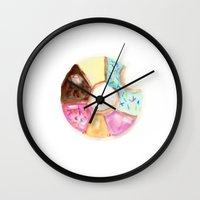 doughnut Wall Clocks featuring Multi Doughnut by Sweet Colors Gallery