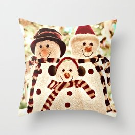 Snowmen Family Art Print Throw Pillow