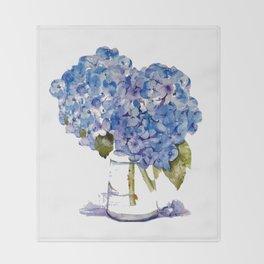 Hydrangea painting Throw Blanket