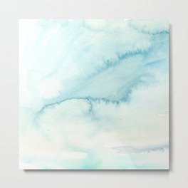 Abstract hand painted blue teal watercolor paint pattern Metal Print