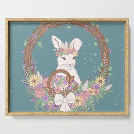 Watercolor Easter Bunny Wreath Art Serving Tray