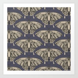 swallowtail butterfly dusk black Art Print
