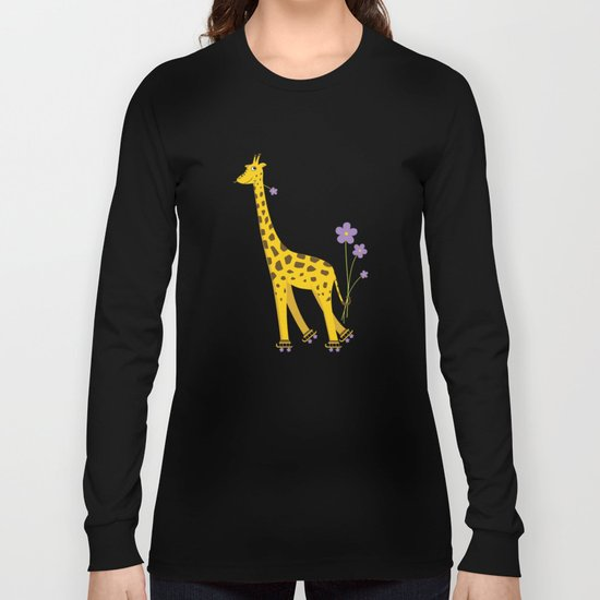 Yellow Funny Roller Skating Giraffe Long Sleeve T-shirt