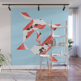Tangram Koi - Blue background Wall Mural
