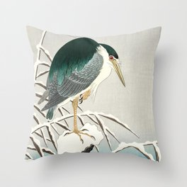 Heron in snow - Japanese vintage woodblock print art Throw Pillow
