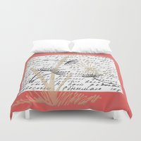 postcard Duvet Covers featuring Vintage Postcard No.3 by Artistic Home Decor