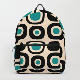 Mid Century Modern Garden Path Pattern 343 Black and Turquoise Backpack