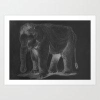 baby elephant Art Prints featuring Baby Elephant by stevesart