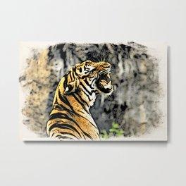 Tiger roar Woodblock Style Metal Print