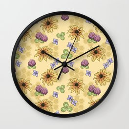 Flowers and Honeycomb Wall Clock
