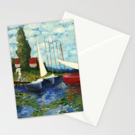 """Artistic Impression of Claude Monet's """"Red Boats at Argenteuil"""" Stationery Cards"""