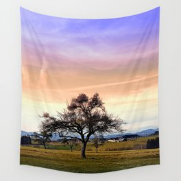 Old tree and amazing cloudy sky | landscape photography Wall Tapestry