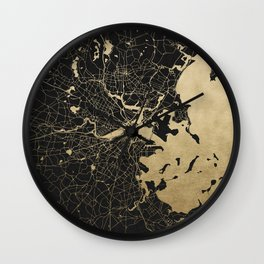 Boston Gold and Black Invert Wall Clock
