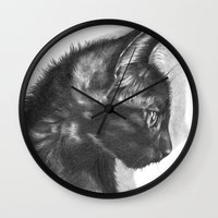 sam smith Wall Clocks featuring Sam by Aline Blanc