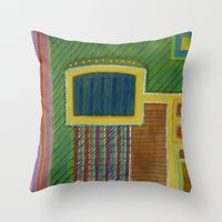 Throw Pillows featuring Colorful Interior with Screen by Heidi Capitaine