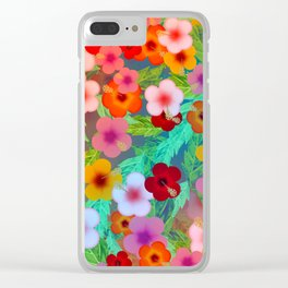 Colorful Hibiscus Clear iPhone Case