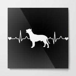 American Pit Bull Terrier Heartbeat Pulse EKG Metal Print